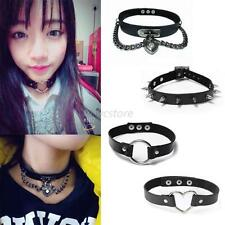 Womens Punk Gothic Leather Choker Heart Chain Spike Rivet Buckle Collar Necklace