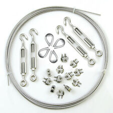 5-50m GALVANISED WIRE ROPE KIT 3-10mm 12x clamps 4x turnbuckles 4x thimbles boat
