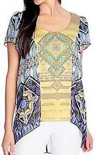 NEW One World Chiffon Knit Combo Flutter Sleeved Embellished Hi-Lo Top SZ S M L