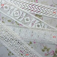 Double Edged Embroidered Cotton Lace Trim Crochet  Ivory DIY Sewing Craft 1YD
