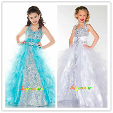 Flower Girl Dresses for Wedding Bridesmaids Prom Ball Gown kids Party pretty-G