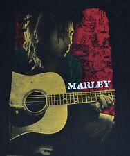 Bob Marley & Guitar Zion Rootswear Licensed T-Shirt Adult Mens Tee