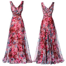 Lady V-Neck Floral Pattern Chiffon Gown Evening Prom Party Dress Bridesmaid Long