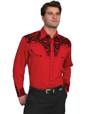 Scully Mens Embroidered Western Shirt Red Perl Snap P-634 S M L XL XXL