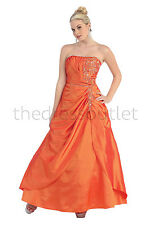 Long Plus Size Formal Bridemaids Dress Strapless Taffeta Prom Gown