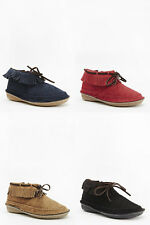 Ladies Flat Fringed Faux Suede Flat Boots Booties Girls Oxfords Moccasin