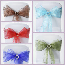 200 New Embroidered on Sheer Organza Chair Sash Bows Ties Wedding Decorations