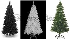 4ft  5ft  6ft  7ft  CHRISTMAS TREE XMAX GREEN BLACK WHITE with METAL STAND