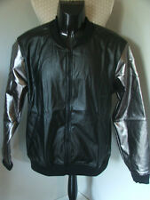 AMERICAN APPAREL BLACK FAUX LEATHER PLEATHER SHINY CLUB JACKET LAME SMOKE JACKET