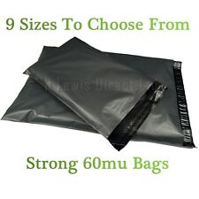 """Strong Small Grey Plastic Poly Mailing Bags/Sacks Self Seal 9 x 12"""" All Quantity"""