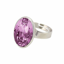 Adjustable Large Oval Crystal Ring made with SWAROVSKI® Crystal
