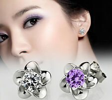 Silver Plated Stud Earrings Earring Platinum Plated Allergy Free Crystal T