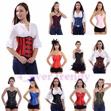 Sexy Lace up Corset Steel Bone Overbust Bustier Top Lingerie G-string Size S-2XL