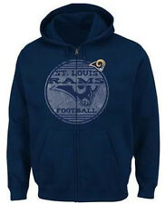 NFL St. Louis Rams Majestic Defeat Proof Men's Zip Up Fleece Hoodie - Navy
