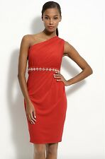 Muse One Shoulder Red Cocktail Dress $155 New MR433M Rhinestone Detailed Waist