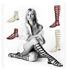 Europe Womens Gladiators Strappy Roma Flat Heels Hollow Out Sandals Knee Boots