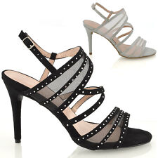 WOMENS STRAPPY DIAMANTE PROM PARTY LADIES WIDE FIT SHOES SANDALS SIZE 3-9