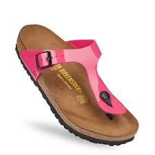 Birkenstock Birko Flor Gizeh $149.95rrp - Patent Hot Pink Lacquer - BNIB