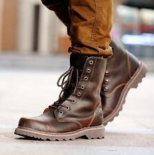 US Size 6.5-10 Men's Retro Lace Up Military Combat Boots Leather Ankle Boots