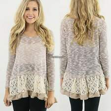 Women long Sleeve lace Blouse loose T Shirt Tops Sweater pullover Jumper WT88