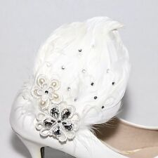 Sparkling Lace Acrylic Wedding Bridal White Feather Fur Shoe Clips Charm Pair