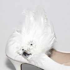 Sparkling Pearl Acrylic Wedding Bridal White Feather Fur Shoe Clips Charm Pair
