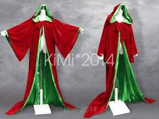 Xmas Red Green Game of Thrones Wizard LARP Robe Cloak Goth Wicca Costume S-6X