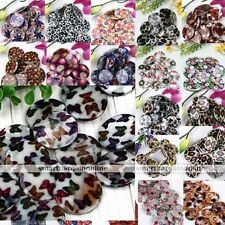 Strand Natural MOP Shell Flower Flat Coin Round Loose Bead For Charm Jewelry DIY