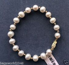HUGE NATURAL 10-11MM ROUND SOUTH SEA GENUINE WHITE PEARL BRACELET14K GOLD CLASP