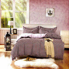 Brown off White Striped Bedding Set Duvet Cover Bed Linen Boyish King Queen Size