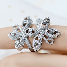 Fashion 18K White Gold Plated Butterfly Crystal Ring Jewelry Gift CZ Rhinestone