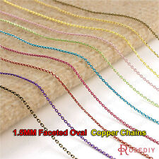 5 meters width:1.5MM Electrophoresis colorful Copper Faceted Oval Chains 25873