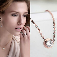 Sweet 18K Rose Gold Plated Crystal Round Circle Chain Pendant Necklace Jewelry