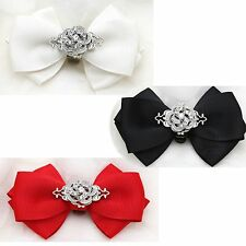 1 pair Black Red Ivory Color Bow Crystal Wedding Bridal Rose Flower Shoe Clips