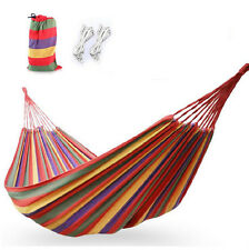 200*150cm Portable Outdoor Canvas Double Hammock Rope Swing Camping Hanging Bed
