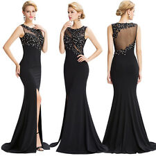 Black Sexy BEADED Prom Formal Evening Gown Bridesmaid Dress Wedding Party Dress