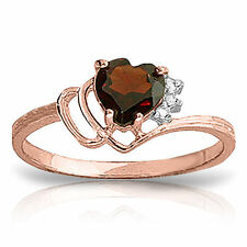Genuine Garnet Heart Gemstone & Diamonds Ring in 14K. Yellow, White or Rose Gold