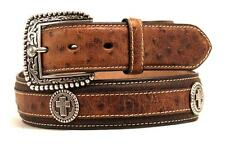 Ariat Western Mens Belt Leather Ostrich Print Cross Concho Brown A1016202