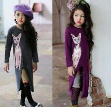 Spring Long Sleeve Dress Casual Party Princess Lovely Cat Girl Kids Dresses 2-7Y