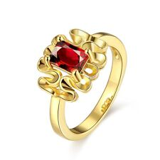 Luxury Lady's Wedding Party 18K Gold Plated Swarovski Crystal Red Ruby Band Ring
