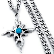 """MEN Turquoise Sun Star Stainless Steel Biker Pendant Curb Chain Necklace 18""""-36"""""""