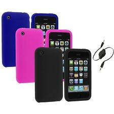 Color Silicone Rubber Gel Skin Case Cover+Aux Cable for Apple iPhone 3G 3GS