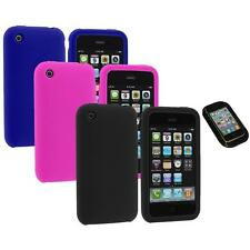 Color Silicone Rubber Gel Skin Case Cover+Sticky Pad for Apple iPhone 3G 3GS