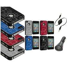 Brushed Metal Aluminum Robot Grid Hard Case Cover+Aux+Charger for iPhone 4 4G 4S