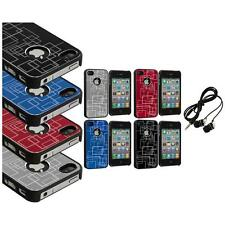 Brushed Metal Aluminum Robot Grid Hard Case Cover+Headphones for iPhone 4 4G 4S