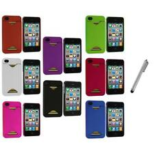 Credit Card ID Snap-On Rubberized Hard Case Cover+Metal Pen for iPhone 4S 4G 4
