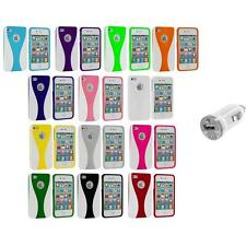 Color White 3-Piece Hard Rubberized Case Cover+USB Charger for iPhone 4 4S 4G