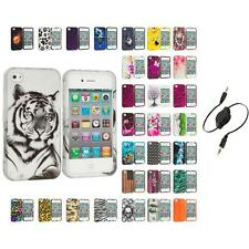 For Apple iPhone 4 4S Hard Design Case Cover Accessory Aux Cable