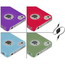 Heart Love Pattern Ultra Thin Hard Case Cover+Aux Cable for iPhone 4 4G 4S