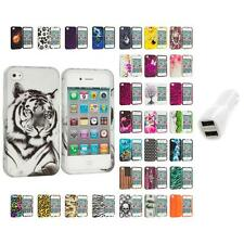For Apple iPhone 4 4S Hard Design Case Cover Accessory Car Charger